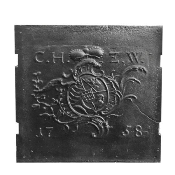 Gusseinerne, antike Kaminplatte, 18. Jahrhundert