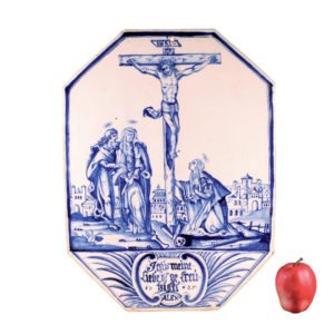 """Signed faience picture plate - Dorotheenthal, dated: """"1725"""""""